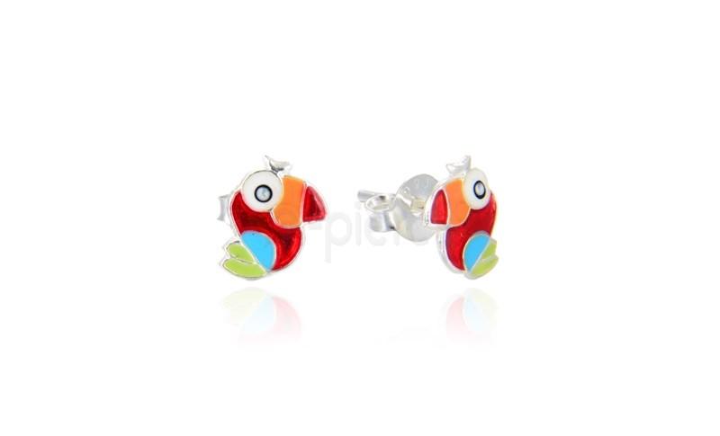 Ασημένια σκουλαρίκια παπαγάλος