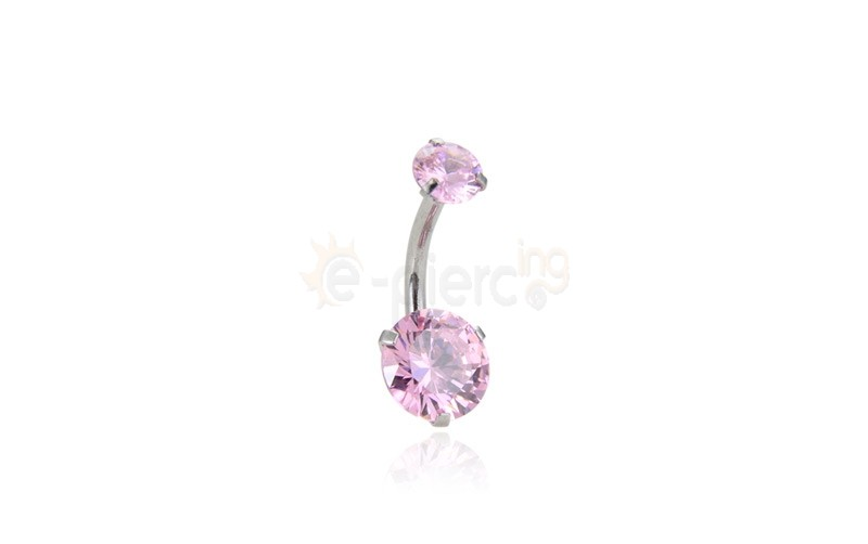 Σκουλαρίκι αφαλού με ροζ ζιργκόν 8mm