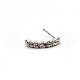 Ασημένιο σκουλαρίκι μύτης μισός κρίκος με πέτρες-White 10059