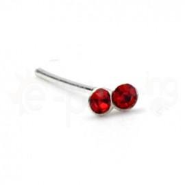 Ασημένιο σκουλαρίκι μύτης με δύο πέτρες-red 10069