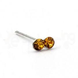 Ασημένιο σκουλαρίκι μύτης με δύο πέτρες-dark yellow CZ 10069