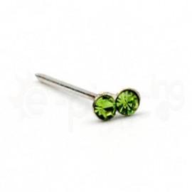 Ασημένιο σκουλαρίκι μύτης με δύο πέτρες-Green 10069