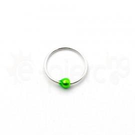 Ασημένιος κρίκος μύτης 10mm με χρωματιστή μπίλια-Green 10089