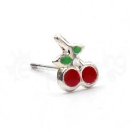 Ασημένιο σκουλαρίκι μύτης κεράσι-red 10091