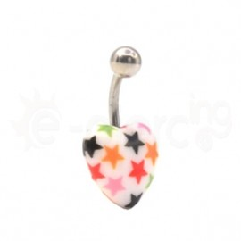 Ακρυλικό σκουλαρίκι αφαλού καρδιά με αστεράκια 11201