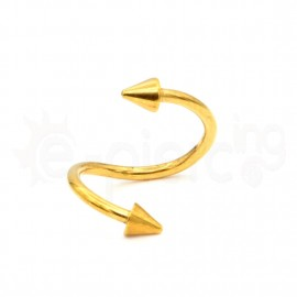 Gold Plated Cone Spiral 10mm Surgical Steel 316L 14069