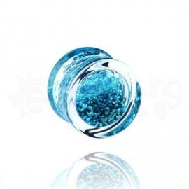 Acrylic plug glitter γαλάζιο 14mm 14557