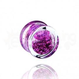 Acrylic plug glitter μωβ 14mm 14559