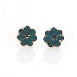 Ασημένια σκουλαρίκια μαργαρίτα Κωδ: 20001-Blue