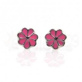 Ασημένια σκουλαρίκια μαργαρίτα Κωδ: 20001-Pink