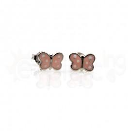 Ασημένια σκουλαρίκια πεταλούδα πουά ροζ