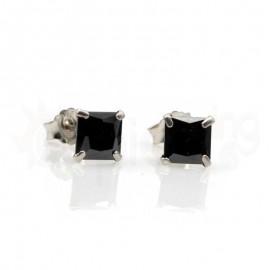 Ασημένια σκουλαρίκια με μαύρο ζιργκόν Κωδ: 20009