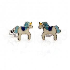 Ασημένια σκουλαρίκια μονόκερος-Blue