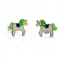 Ασημένια σκουλαρίκια μονόκερος-Green