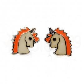 Ασημένια σκουλαρίκια μονόκερος-orange