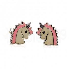 Ασημένια σκουλαρίκια μονόκερος-Pink