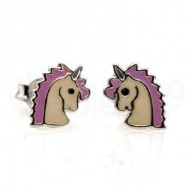 Ασημένια σκουλαρίκια μονόκερος-purple