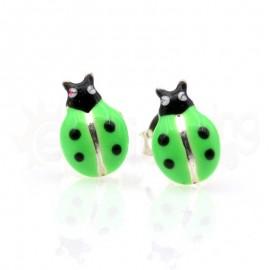 Ασημένια σκουλαρίκια πασχαλίτσες-Green
