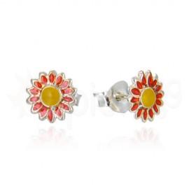 Ασημένια σκουλαρίκια μαργαρίτα 20331