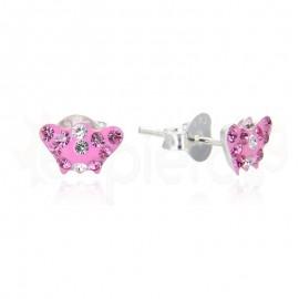 Ασημένια σκουλαρίκια πεταλούδα με στρασάκια 21103