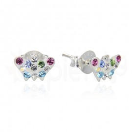 Ασημένια σκουλαρίκια πολύχρωμη πεταλούδα 21105