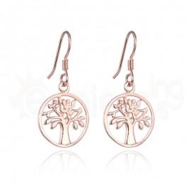 Rose Gold κρεμαστά σκουλαρίκια, μικρό δέντρο ζωής 21119