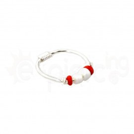 Ασημένιος κρίκος μύτης με πολύχρωμες χάντρες κόκκινο / άσπρο 50377