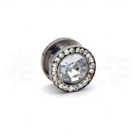 Surgical steel plug 12mm με πέτρες 50385