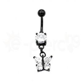 Μαύρο σκουλαρίκι αφαλού πεταλούδα 50507