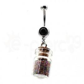 Σκουλαρίκι αφαλού γκρι μπουκάλι 50612