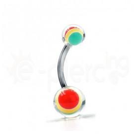 Σκουλαρίκι αφαλού με epoxy μπίλιες 50659