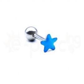 Σκουλαρίκι Tragus με γαλάζιο σμάλτο 50749