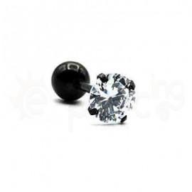 Μαύρος Tragus με λευκό ζιργκόν 6mm Κωδ.50757