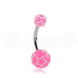 Σκουλαρίκι αφαλού αστέρι-Pink 51254