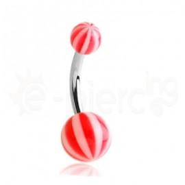 Σκουλαρίκι αφαλού multi stripe-red 51257
