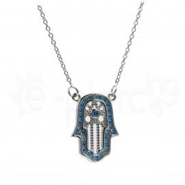 Ασημένιο κολιέ χέρι με γαλάζιες πέτρες 520090