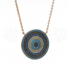 Rose Gold κολιέ μάτι με ζιργκόν & οπάλ πέτρες 520229