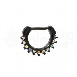 Μαύρο Septum 10mm με ιριδίζον πέτρες 59470