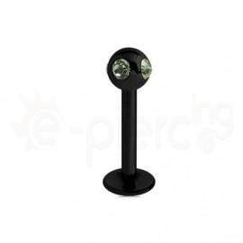 Μαύρο σκουλαρίκι για χείλη με πέτρες 3mm-Green 59746