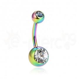 Rainbow σκουλαρίκι αφαλού με λευκές πέτρες 59783
