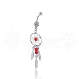 Σκουλαρίκι αφαλού ονειροπαγίδα-red 59801