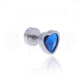 Σκουλαρίκι καρδιά με ιριδίζον κρύσταλλο 8mm Κωδ: 59809