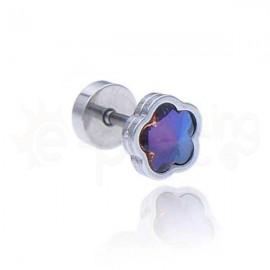 Σκουλαρίκι μαργαρίτα με ιριδίζον κρύσταλλο 8mm Κωδ: 59810