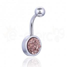 Σκουλαρίκι αφαλού πολύχρωμο 10mm-Brown glitter 59828