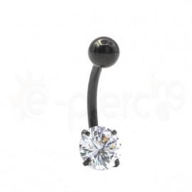Μαύρο μονόπετρο σκουλαρίκι αφαλού 7mm 59852