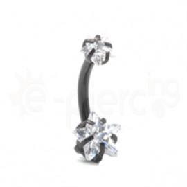 Μαύρο σκουλαρίκι αφαλού αστέρι 7mm 59857