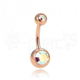 Rose Gold σκουλαρίκι αφαλού με ιριδίζον πέτρες 59883