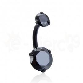 Σκουλαρίκι αφαλού μαύρο με ζιργκόν 8mm 59945