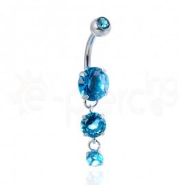 Σκουλαρίκι αφαλού με ζιργκόν γαλάζιες πέτρες 59953