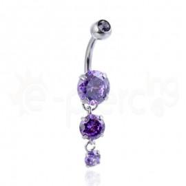 Σκουλαρίκι αφαλού με ζιργκόν μωβ πέτρες 59954